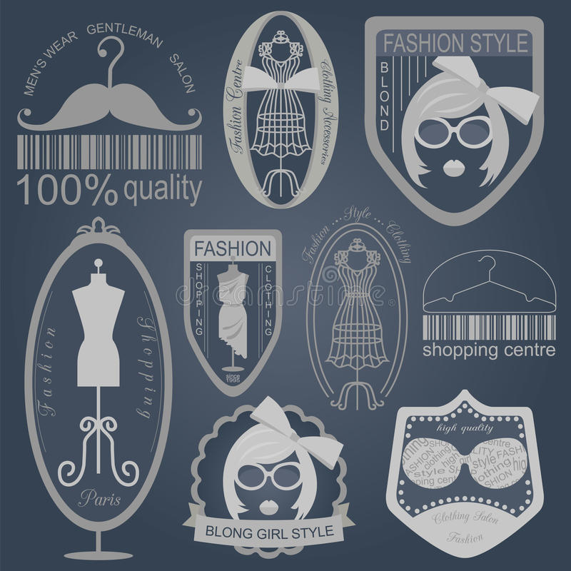 Set of vintage fashion and clothes style logos. Vector logo temp. Lates and badges royalty free illustration
