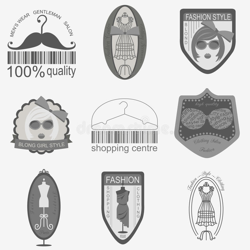 Set of vintage fashion and clothes style logos. Vector logo temp. Lates and badges stock illustration