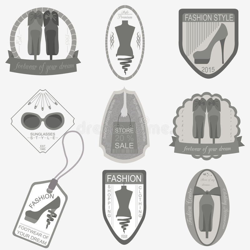Set of vintage fashion and clothes style logos. Vector logo temp vector illustration