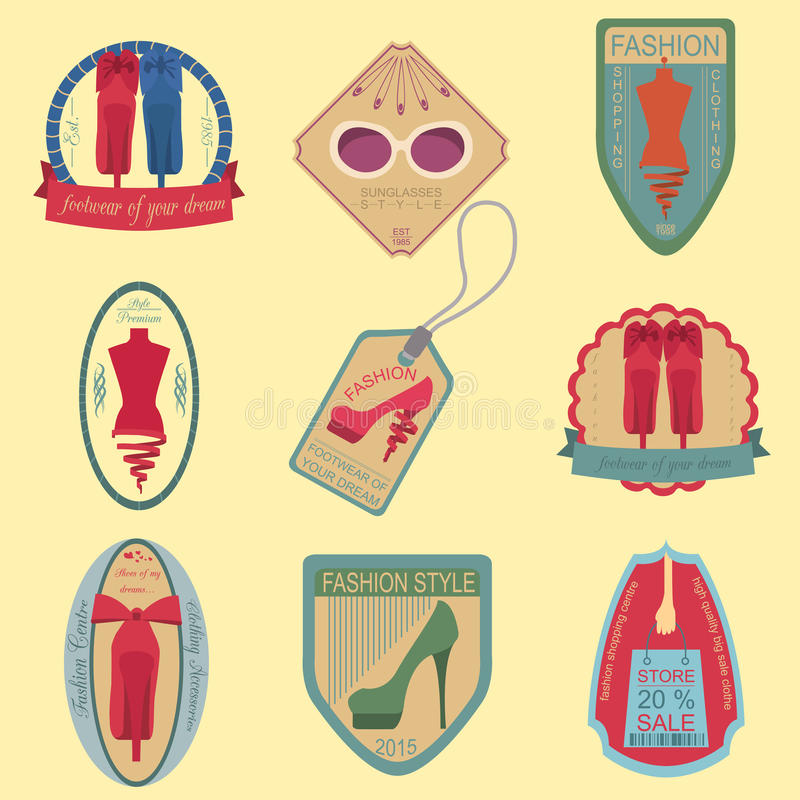 Set of vintage fashion and clothes style logos. Vector logo temp royalty free illustration