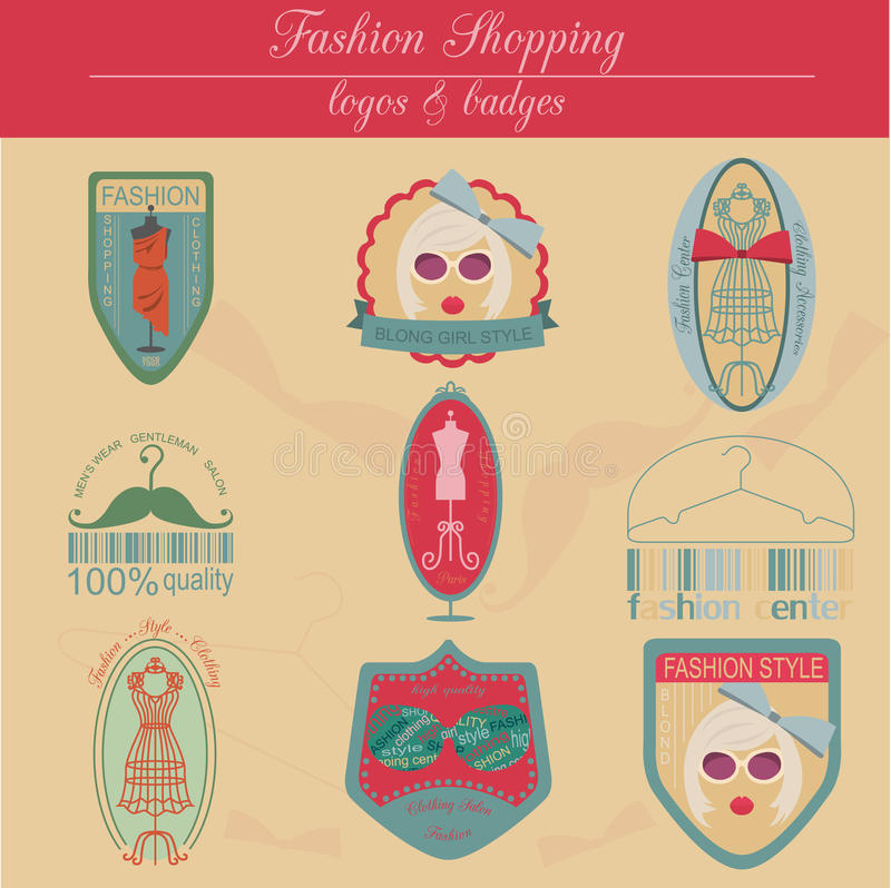 Set of vintage fashion and clothes style logos. Vector logo. Templates and badges royalty free illustration