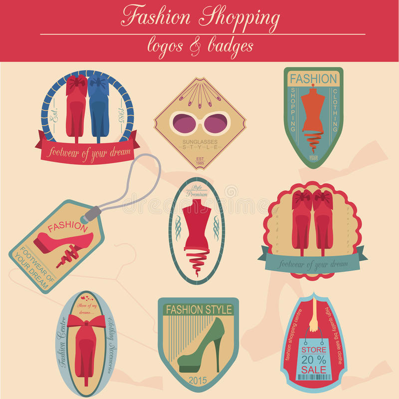 Set of vintage fashion and clothes style logos. Vector logo. Templates and badges vector illustration
