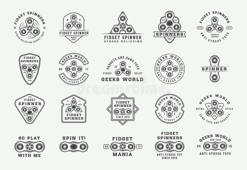 Set of vintage fidget spinners logos, emblems, badges and motivational posters. Monochrome Graphic Art. Vector Illustration royalty free illustration