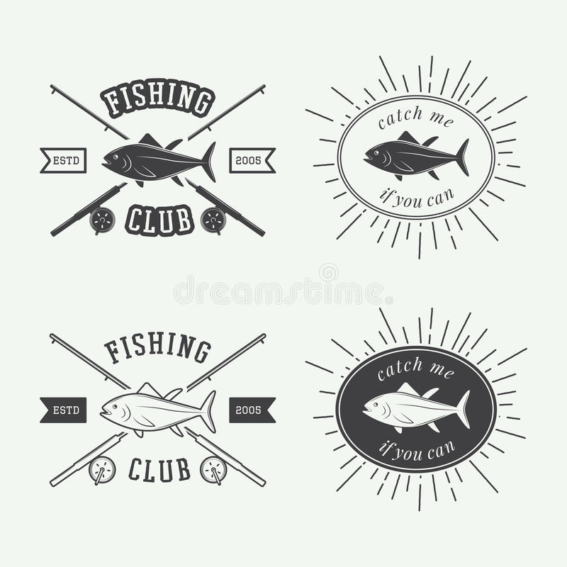 Set of vintage fishing labels, logo, badge and design elements. stock illustration