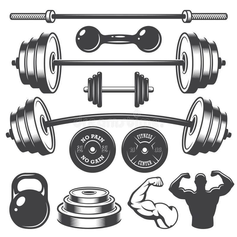 Set of vintage fitness designed elements. Monochrome style royalty free illustration