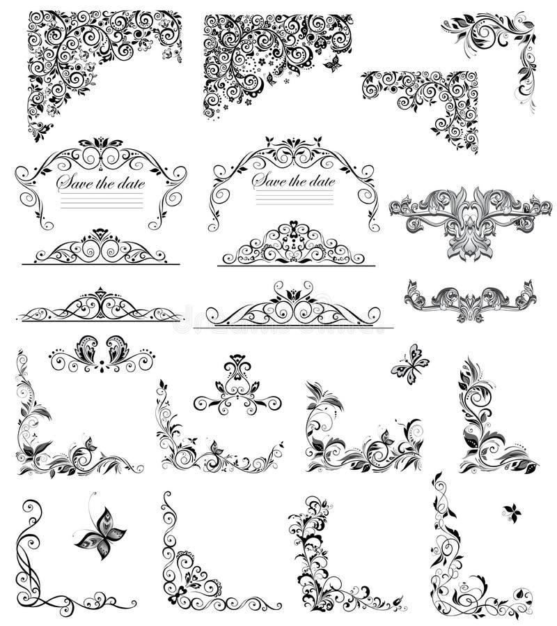 Set of vintage floral caption (black and white). Collection of vintage floral caption (black and white vector illustration