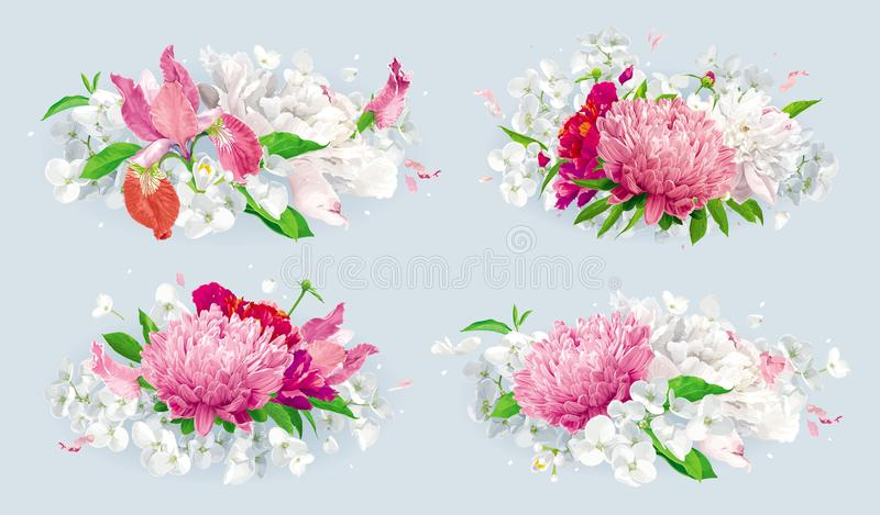Red pink summer flowers bouquet set. Set of vintage floral vector bouquets: pink Chrysanthemums, Tulips, red Peonies, Apple blossom. Botanical drawing in stock illustration