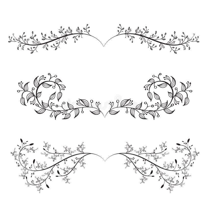 Single Line Text Art : Set of vintage flourish decorative art calligraphy whorls