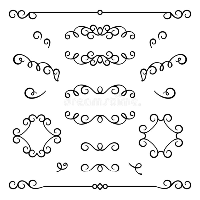 Set of vintage flourishes and scroll embellishment. Vintage calligraphic flourishes, swirly decorative elements in retro style, elegant scroll embellishment on stock illustration