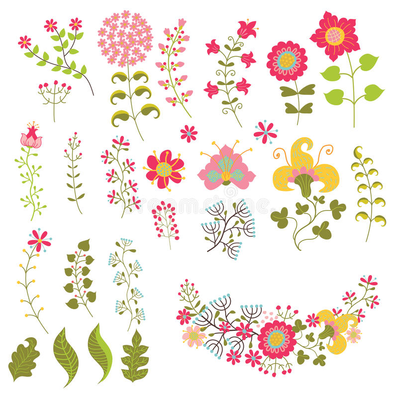 Set of vintage flowers elemments.Flowers,branches,berries. Cute set of floral stylized elements. Vector Flowers,branches,berries. Vintage decorative item for royalty free illustration