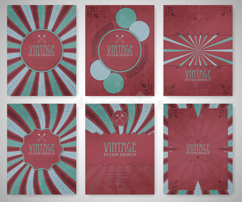 Set Of Vintage Flyer Template Brochure Cover Design Or Corporate