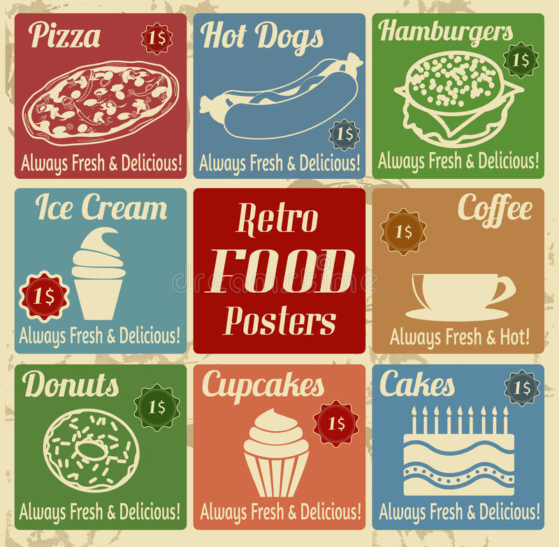 Set of vintage food posters vector illustration