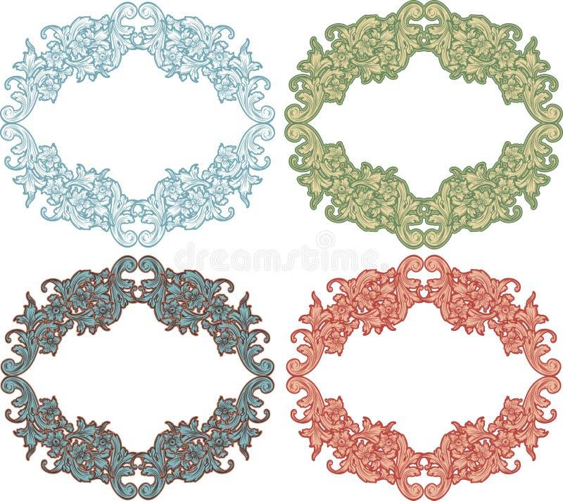 Set vintage frames. Set vintage floral color frames vector illustration