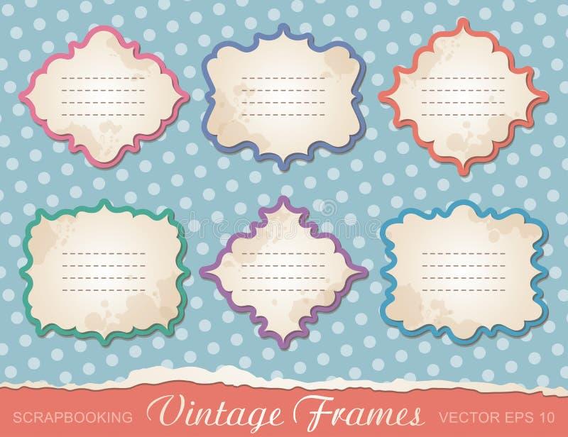 Set of vintage frames royalty free illustration