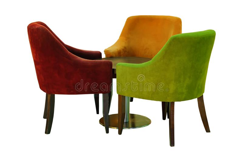 Set of vintage furniture isolated on white background. Three wooden and velvet armchairs and round laquered table royalty free stock photos