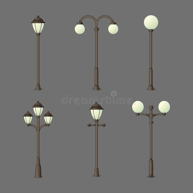 Set of vintage gas or electric street lamps. Outdoor lights isolated on a gray background. Collection of vector urban icons stock illustration