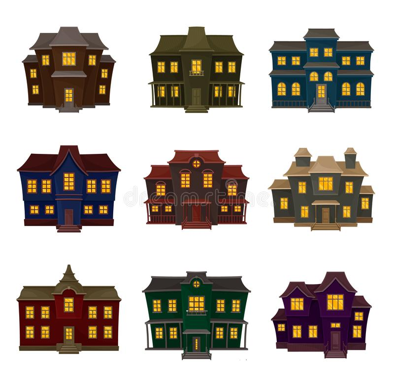 Set of vintage gloomy house. Vector illustration on a white background. Set of vintage gloomy house of different shapes and colors. Vector illustration on a vector illustration