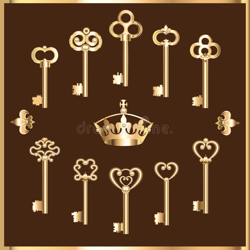 Set of vintage gold keys stock illustration