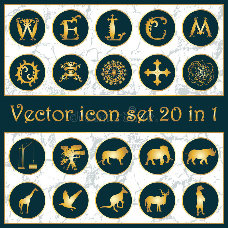 Shepherd Gold On Blue Silhouette Ornament: Set Of Vintage Gold Vector Icon Logo 20 In 1 Stock Vector