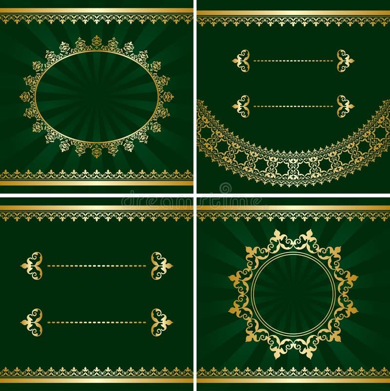Set of vector vintage golden frames on green backgrounds stock illustration