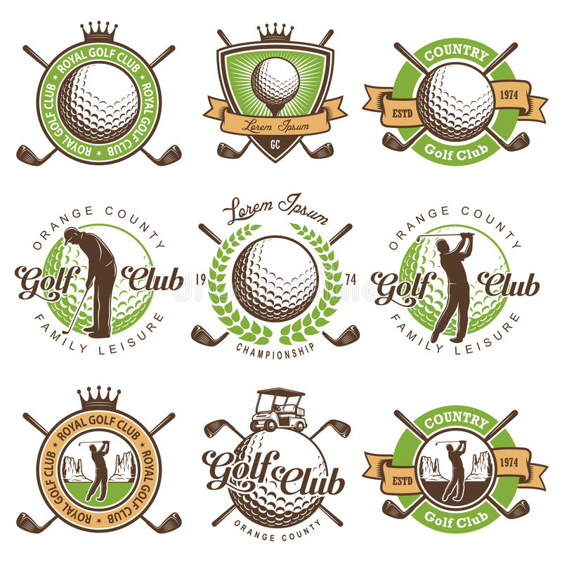 Set of vintage golf emblems royalty free illustration