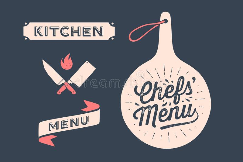 Set vintage graphic and typography. Wall decor, poster, sign, kitchen design stock image