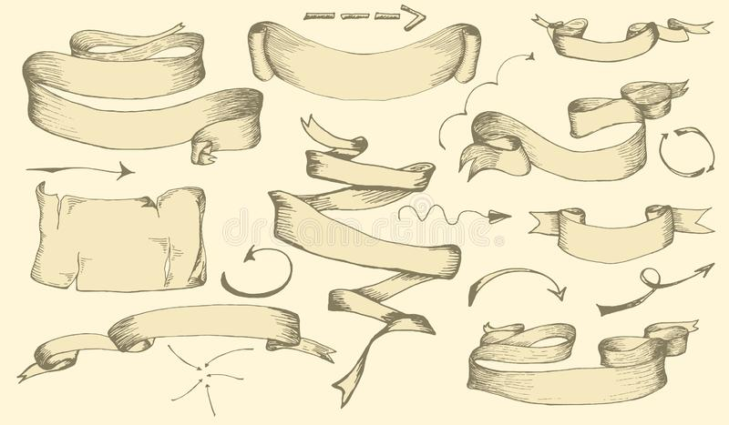 Set of vintage hand drawn banners, ribbons and arrows elements for decoration greeting cards or invitation. Hand drawn sketches fo stock image