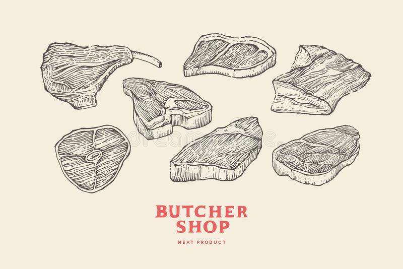 Set vintage hand-drawn different cuts of meats. Engraving pictures for concept of farmer`s market and shop. stock illustration