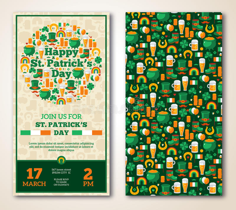 Set Of Vintage Happy St. Patrick\'s Day Greeting Stock Vector ...