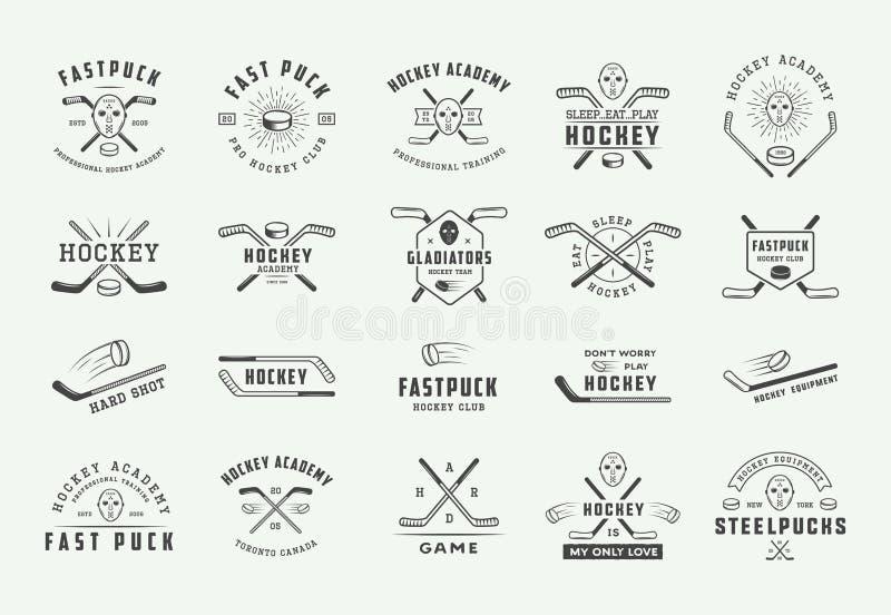 Set of vintage hockey emblems, logos, badges, labels and design elements. Graphic Art. Vector Illustration. - Vector royalty free illustration