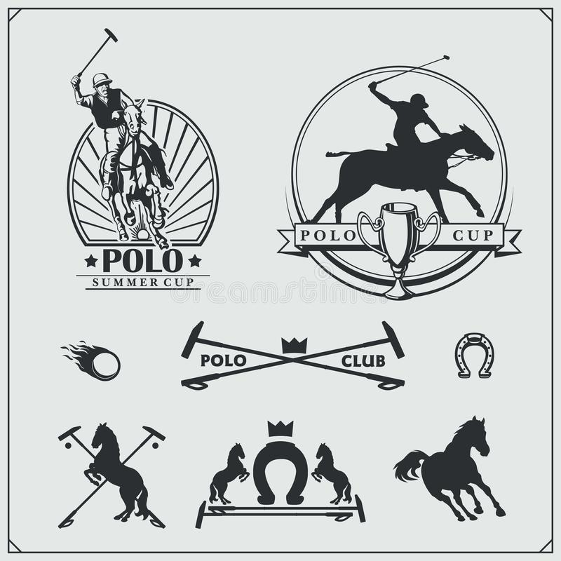 Set of vintage horse polo club labels, emblems, badges and design elements. stock illustration