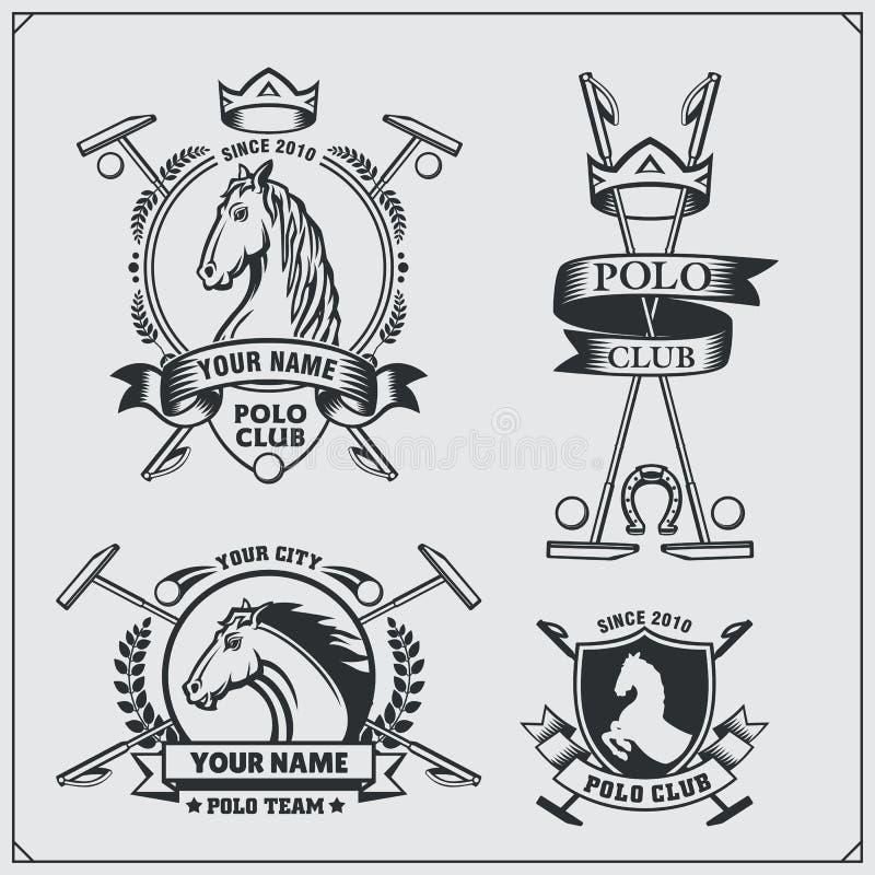 Set of vintage horse polo club labels, emblems, badges and design elements. royalty free illustration