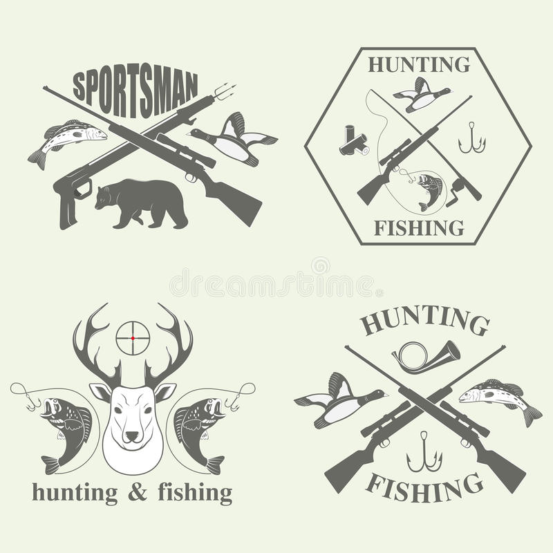 Set of vintage hunting and fishing stock vector image for Hunting and fishing times