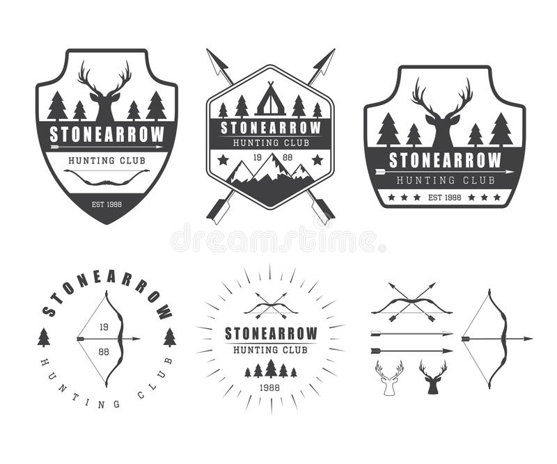 Set of vintage hunting labels, logo, badges and design elements vector illustration