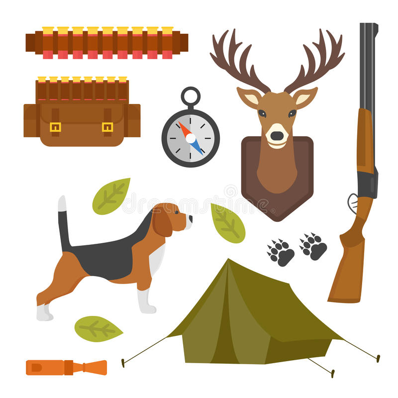 Set Of Vintage Hunting Symbols Camping Objects Design