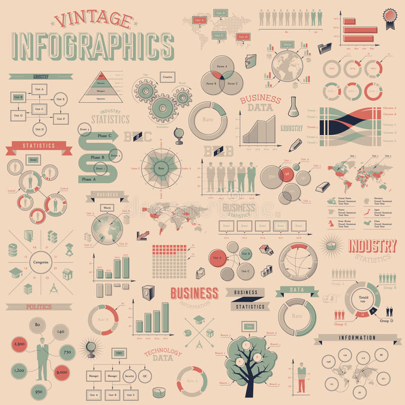 Set of vintage infographics design elements. Vintage infographics with data icons, world map charts and design elements. Vector illustration