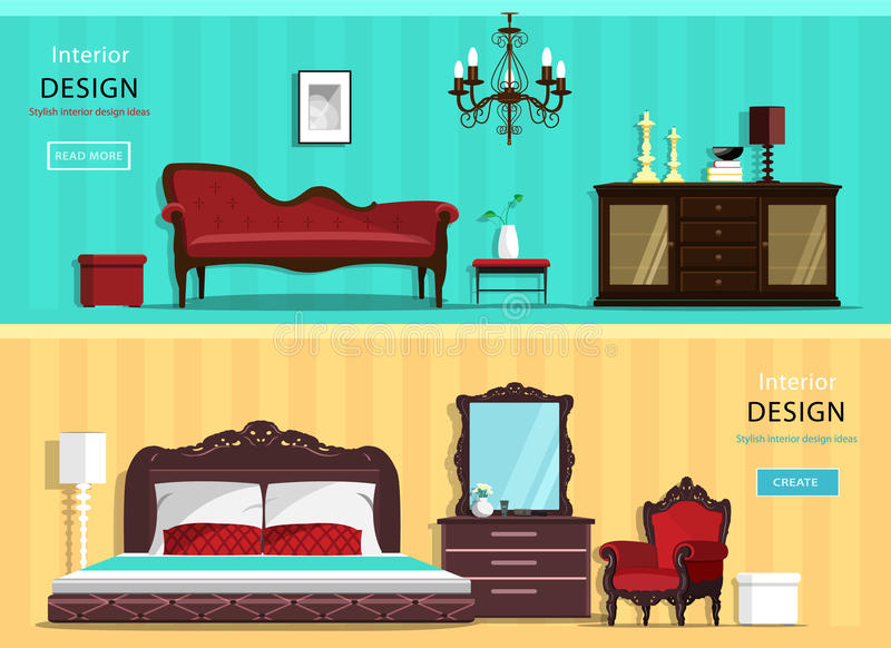 Set of vintage interior design house rooms with furniture icons: living room and bedroom. Flat style. vector illustration