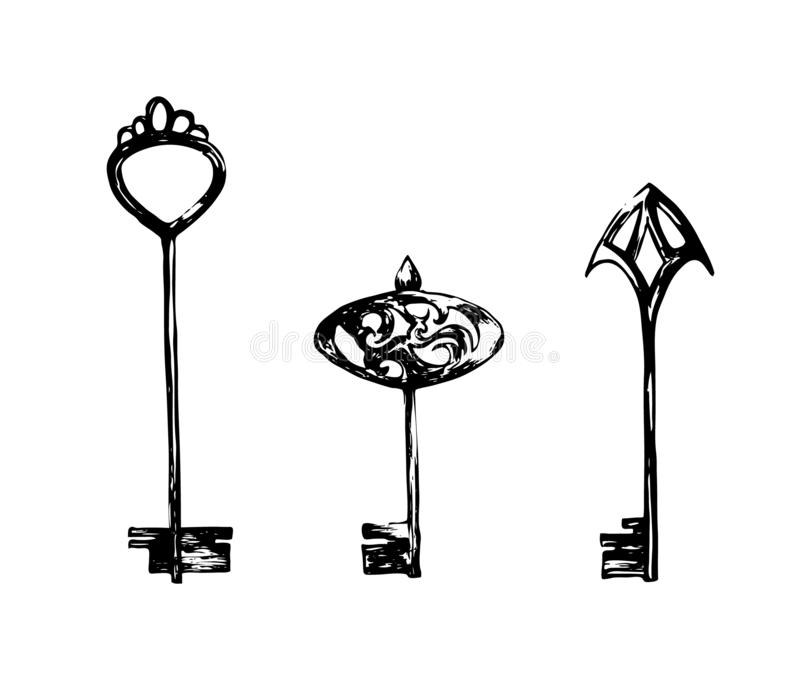 Set of vintage keys. Hand drawn sketch illustration. Vector black ink drawing isolated on white background. Grunge style vector illustration