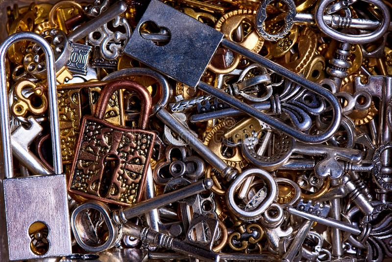 Set of vintage keys and locks close-up stock images
