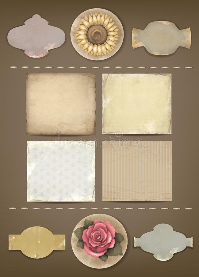Set of vintage labels and papers vector illustration