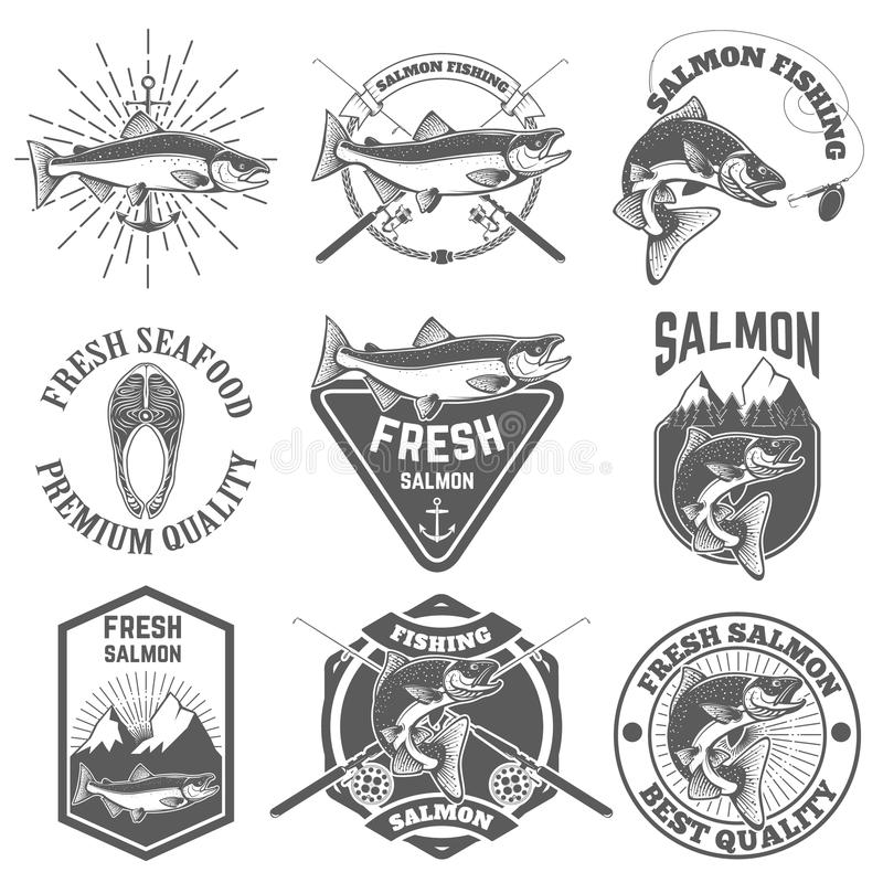 Set of vintage labels with salmon fish. Salmon fishing, salmon m. Eat. Design elements for label, emblem for fishing club. Vector illustration vector illustration