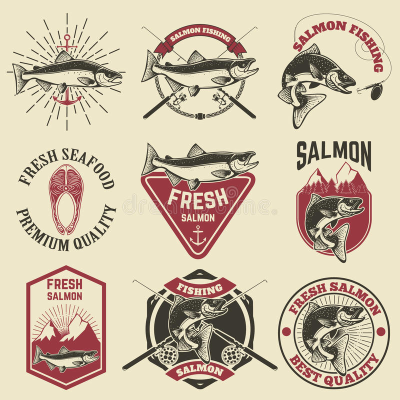 Set of vintage labels with salmon fish. Salmon fishing, salmon meat. Design elements for label, emblem for fishing club. Vector illustration royalty free illustration