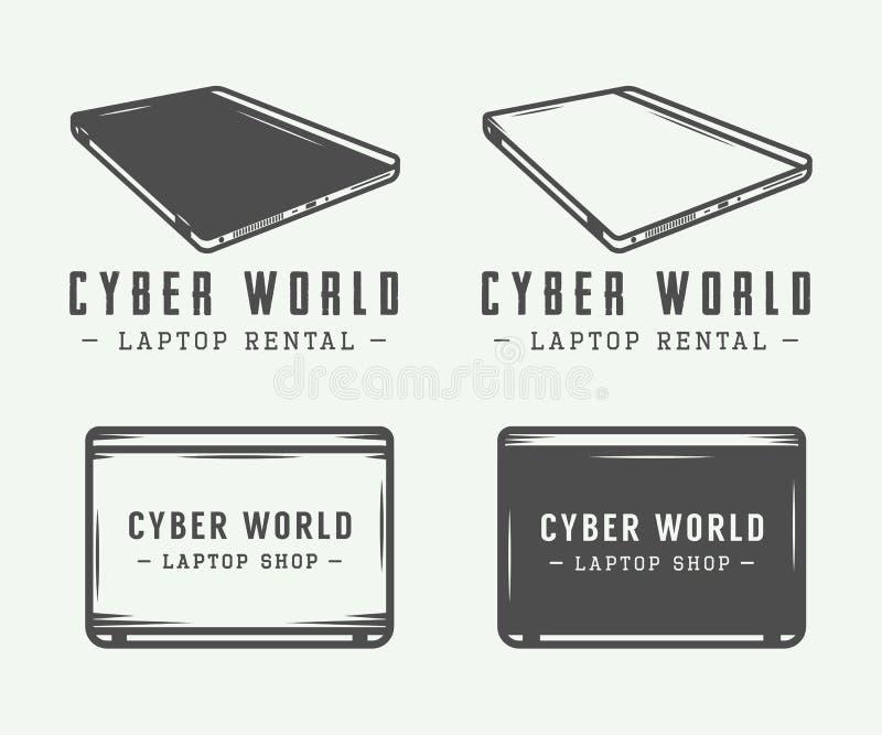 Set of vintage laptop logo, emblem, badge and design elements. Vector Illustration vector illustration