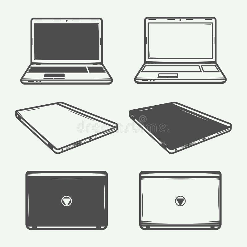 Set of vintage laptop or pc logo, emblem, badge, label, mark and design elements. Vector Illustration royalty free illustration