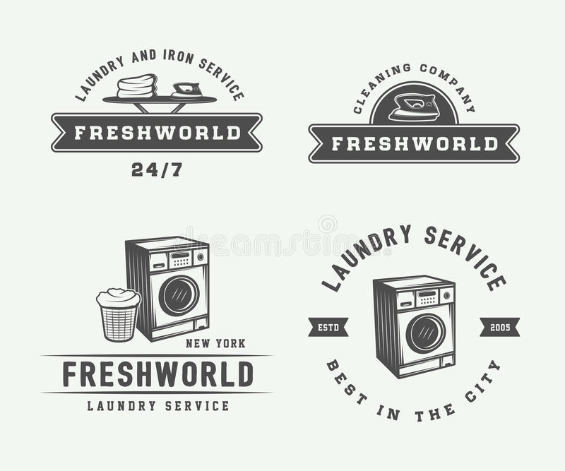 Set of vintage laundry, cleaning or iron service logos, emblems, badges and design elements. Monochrome Graphic Art. Vector Illus vector illustration