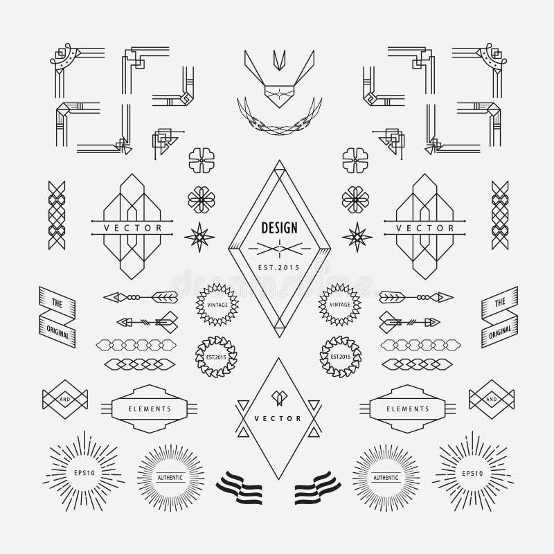 Set of vintage linear thin line geometric shape art deco retro stock illustration