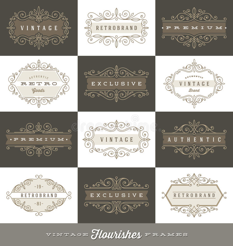 Set of vintage logo template with flourishes calligraphic frames. Set of vintage logo template with flourishes calligraphic elegant ornament frames royalty free illustration