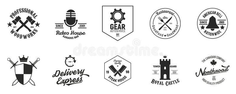 Set of 10 vintage logo templates. Logos, identity, labels, badges. Grunge texture. Vector illustration. Vintage logos with Grunge texture. Vector illustration stock illustration