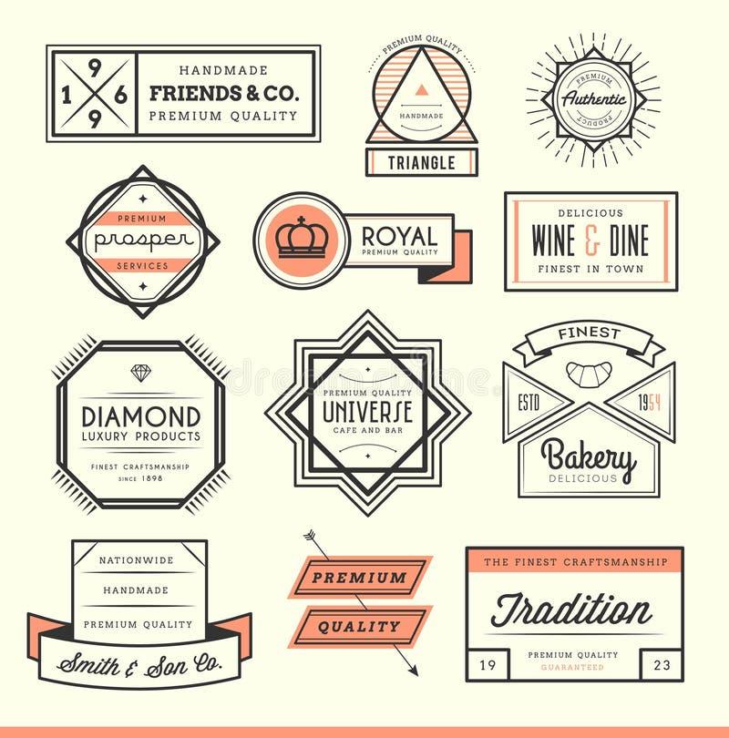 Set of vintage logos, badges and labels. Vector illustration stock illustration