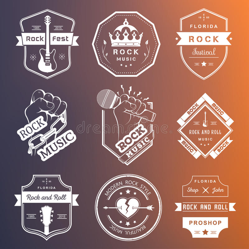 Set of vintage logos of rock music and rock and roll royalty free illustration